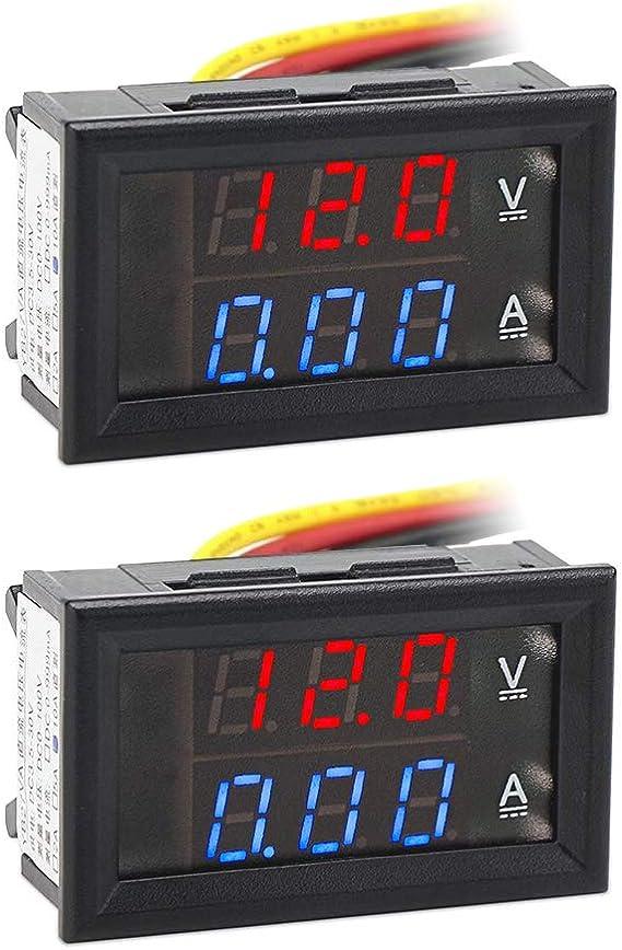Aideepen 2 Stück 0 28 Led Digital Voltmeter Amperemeter Dc 0 100v 10a Volt Amp 2in1 Tester Für 12v 24v Multimeter Ampere Meter Volt Amp Gauge Panel Baumarkt