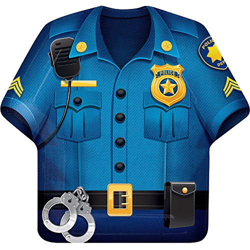 Creative Converting 329389 Police Party 96-Count Shaped Paper (Shirt Shaped Dinner Plates)