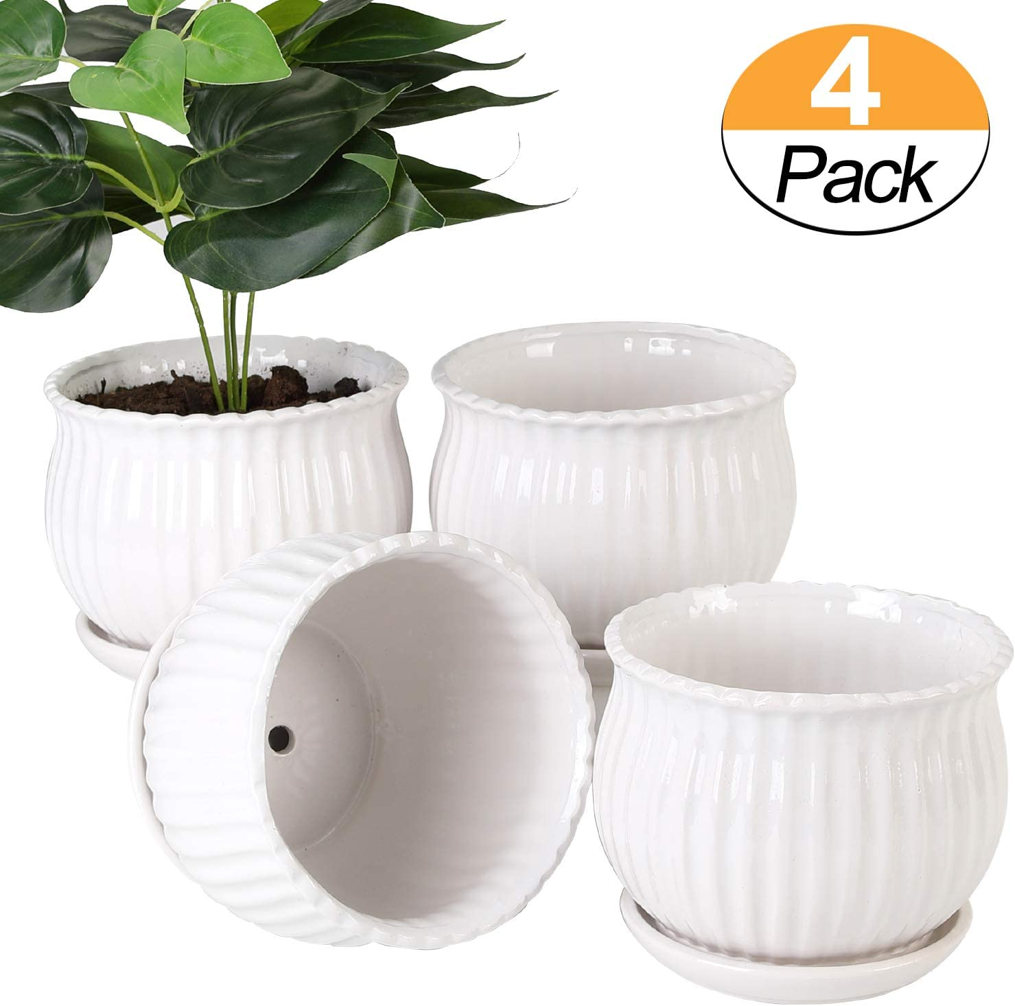 Plant pots – 5.5-inch Cylindrical Ceramic Planters with Connected Saucer, Round Modern Ceramic Garden pots – Succulent Medium-Sized Plant pots Set of 4 Pure White