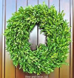 Green Faux Boxwood Wreath for Interior or Exterior Decor Use 18-20″ Diameter For Sale