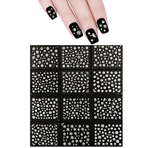 ALLYDREW Snowflakes Nail Stickers Nail Art 3d Nail Decals, 12 sheets