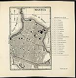 Mantua Italy Artificial Lake Mezzo Lombardy 1877 antique lithograph city plan