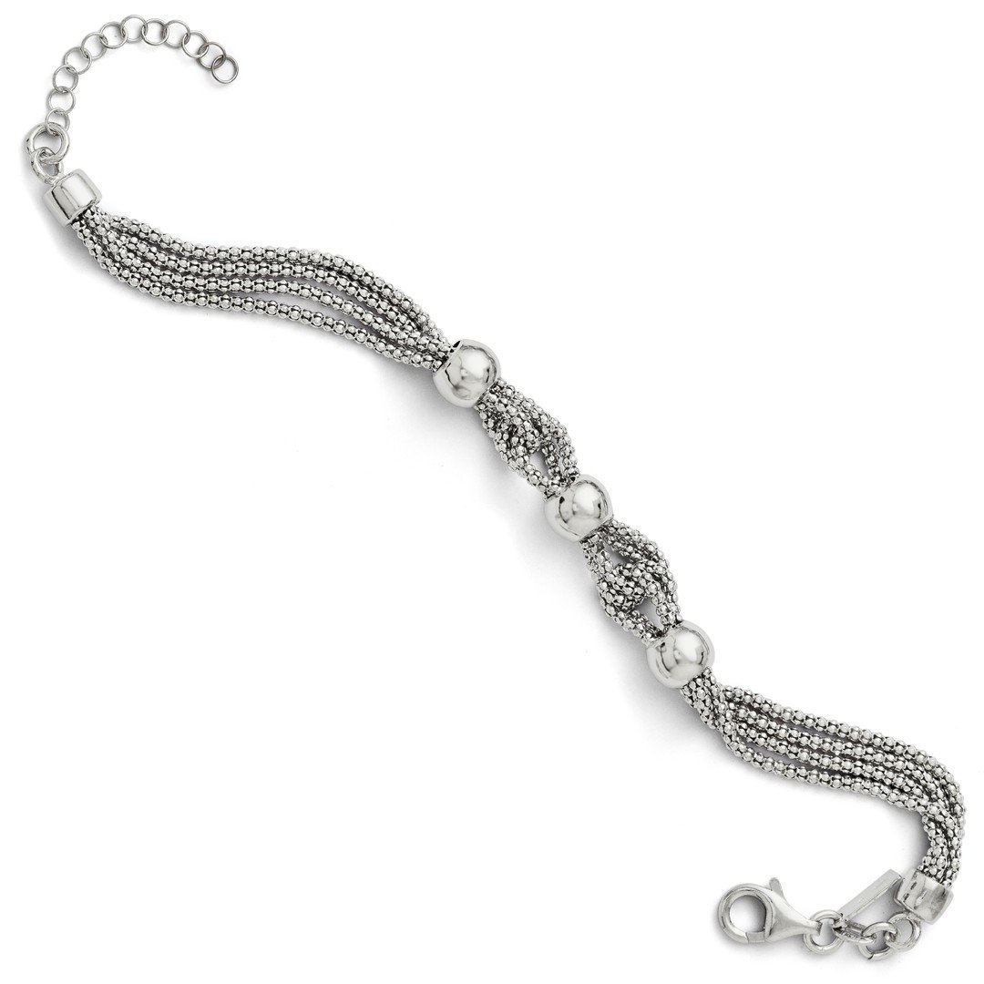 ICE CARATS 925 Sterling Silver 4 Strand Beaded Bracelet 1 Inch Extension 7.50 Fancy Chain Beadsed Fine Jewelry Gift Set For Women Heart