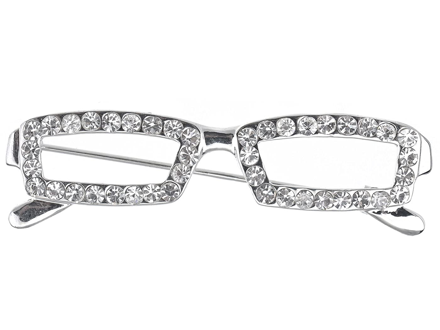 Alilang Silberton Clear Crystal Farbige Strass Rechteck Nerdy Glasses Brosche
