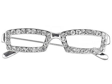 10c58c081ad Alilang Nerdy School Teacher Clear Crystal Rhinestone Reading Glasses Frame  Pin Brooch  Amazon.co.uk  Jewellery