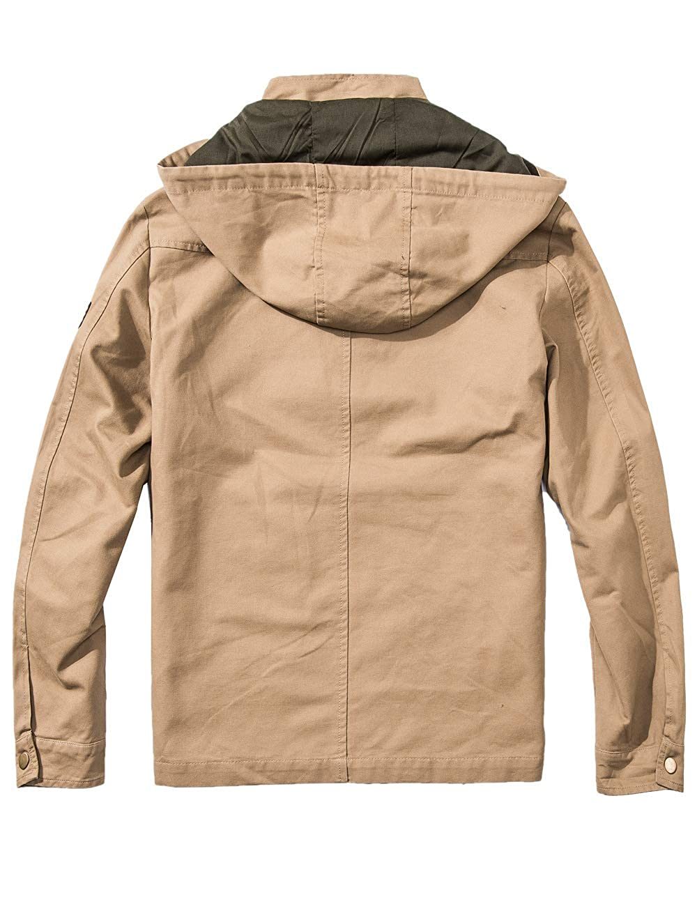 Mens Cotton Bomber Military Jacket Multi-Pocket Removable Hooded DYGH-JK2601