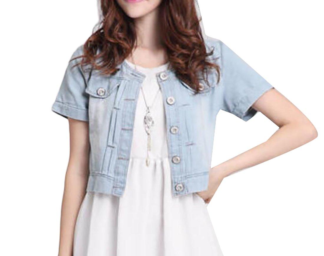 XTX Women's Short Style Short Sleeve BF Washed Denim Jackets Light Blue 3XL