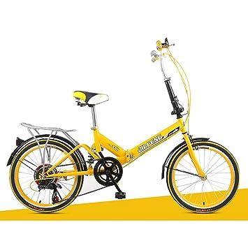 XQ XQ-TT-623 Bicicleta Plegable 20 Pulgadas Velocidad Variable Amarillo
