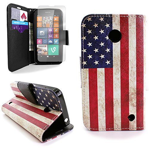 Nokia Lumia 635 Case Pouch and Clear Screen Protector, Fashion Design (American Flag) CoverON Protective Wallet Carrying Phone Cover for Nokia Lumia - Free Case 635 Shipping Nokia