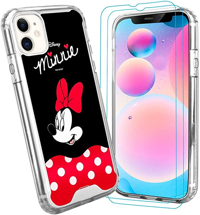 Amazon Com Disney Collection Iphone 11 Crystal Clear Case Minnie Wallpaper Cute Shockproof Anti Scratch Protective Cover Tpu Bumper And Pc Back Shell