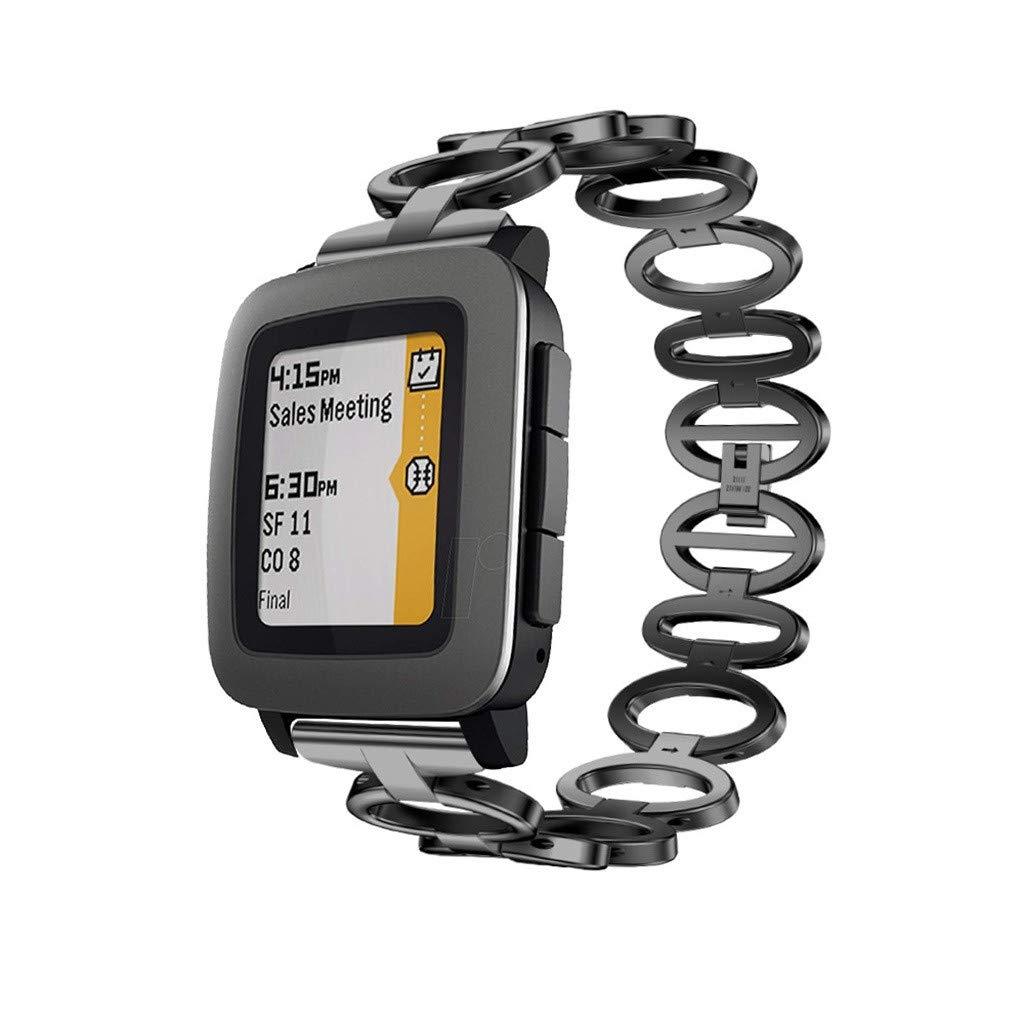 Correa de Reloj de Acero Inoxidable, Dkings Banda de Reloj de liberación rápida para Pebble Tiempo SmartWatch 22mm, 4 Colores, Anillo Conectado Reloj ...