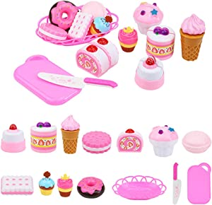 ELitao 15 PCS Pretend Play Food Set - Pretend Cutting Play Desserts Cake Ice Cream and Donuts Food Toys - Birthday Gifts Set Toy for Boys, Girls, Kids (Pink)