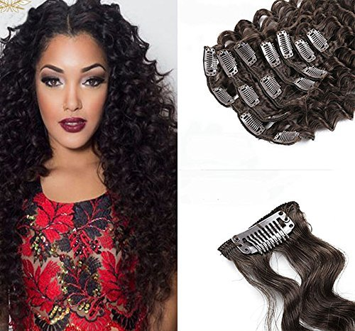 Elegance Hair Extensions (18Inch-24Inch 100% Remy Brazilian Human Hair Deep Curly Clip in Hair Extensions 6A Grade 7pcs/Set 70g Darkest Brown #2 (18''))