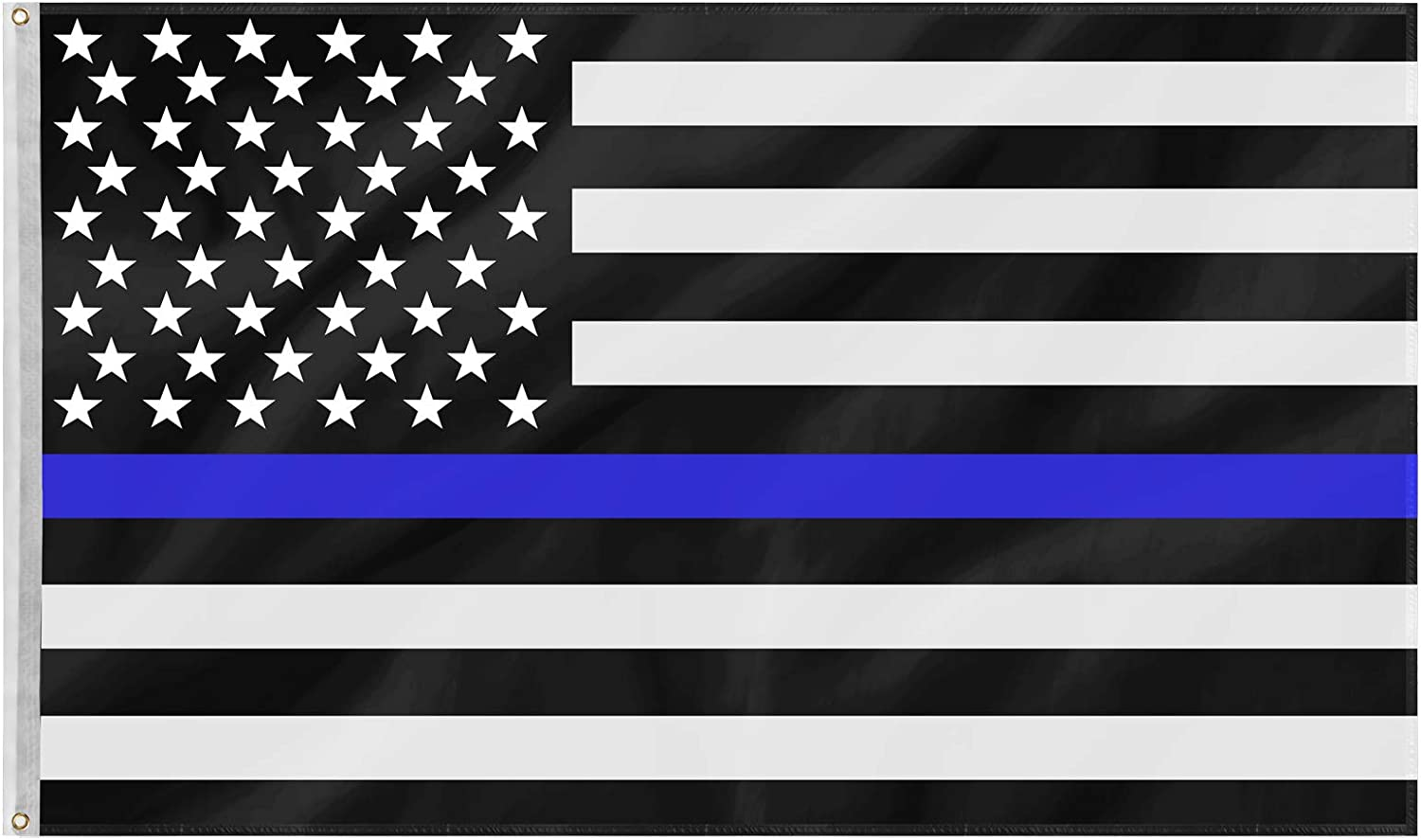 PACETAP Thin Blue Line Police Flags - 3x5 ft Blue Stripe American Matter Police Flags - American Law Enforcement Flag-Honoring Law Enforcement Officers Flags Polyester with Brass Grommets