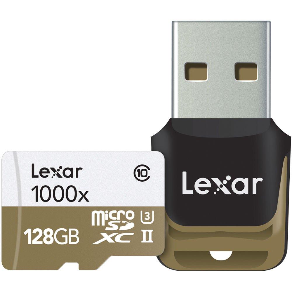 Lexar lsdmi128cbeu1000r Professional Class 10 1000 x Micro SDHC UHS-II Tarjeta de Memoria con USB Lector de Tarjetas, 128 GB