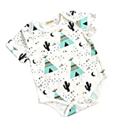 Summer Baby Clothes Cotton One-Piece Jumpsuit Rompers Outfit Bodysuit (70(0-6Months), Cactus)