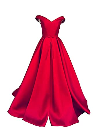 Aurora Bridal Womens Prom Dresses Long Off Shoulder Satin Formal Evening Gown Size 20 Red