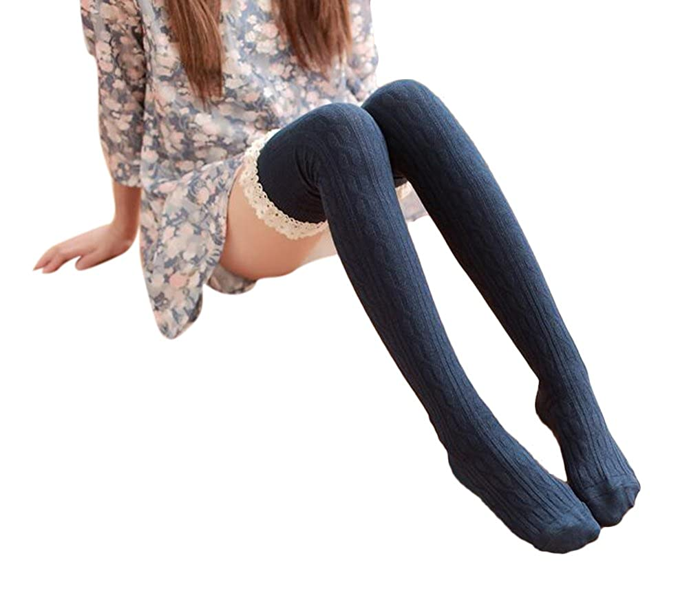 Women's Lace Trim Knee-High Boot Socks Over The Knee High Socks for Girls WD-sock002-Black