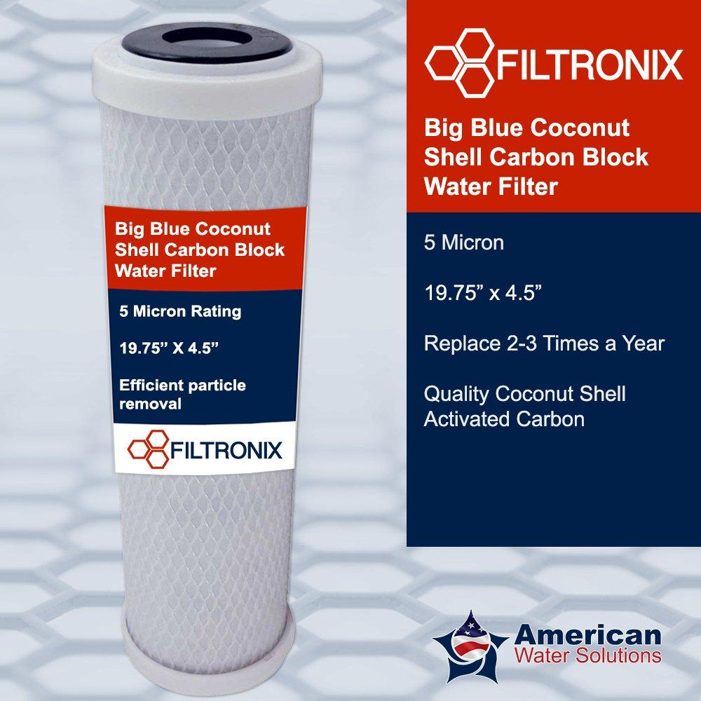 有名なブランド Filtronix 5 Filtronix Micron Bigブルーココナッツシェルカーボンブロック水フィルター20