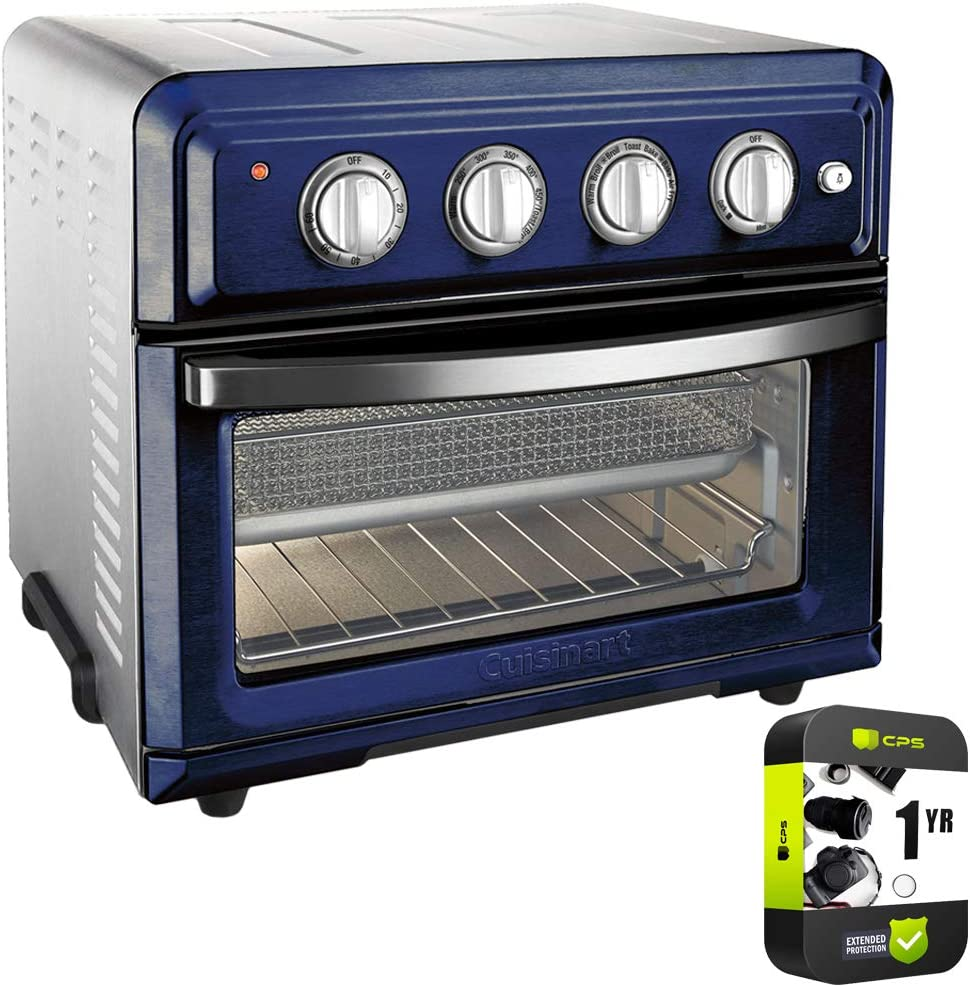 Cuisinart TOA-60NV Convection Toaster Oven Air Fryer with Light, Navy Bundle with 1 Year Protection Plan