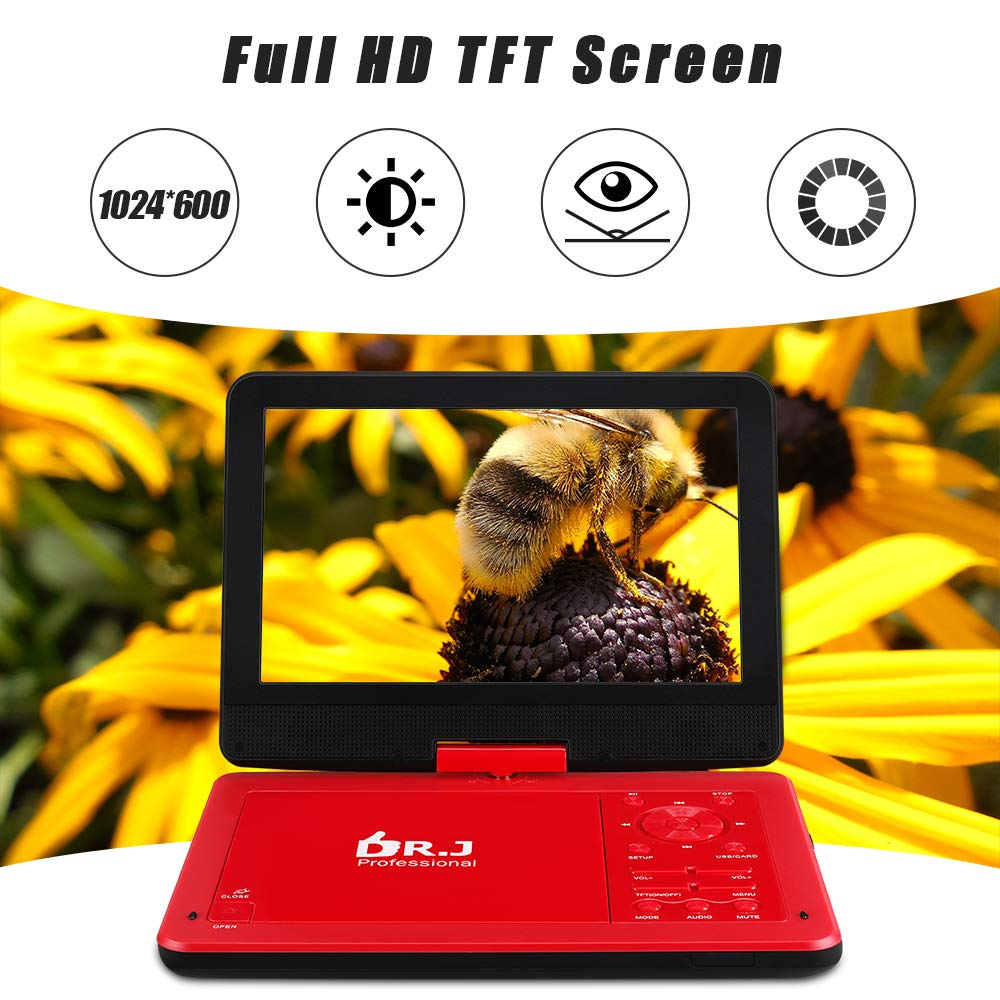 DR. J 12.5'' Portable DVD CD Player 10.5'' HD Swivel Screen with 5 Hours Rechargeable Battery, Region-Free Video Player with Remote Control and AV Cable Sync TV with Car Charger Jet Red by DR. J Professional (Image #2)