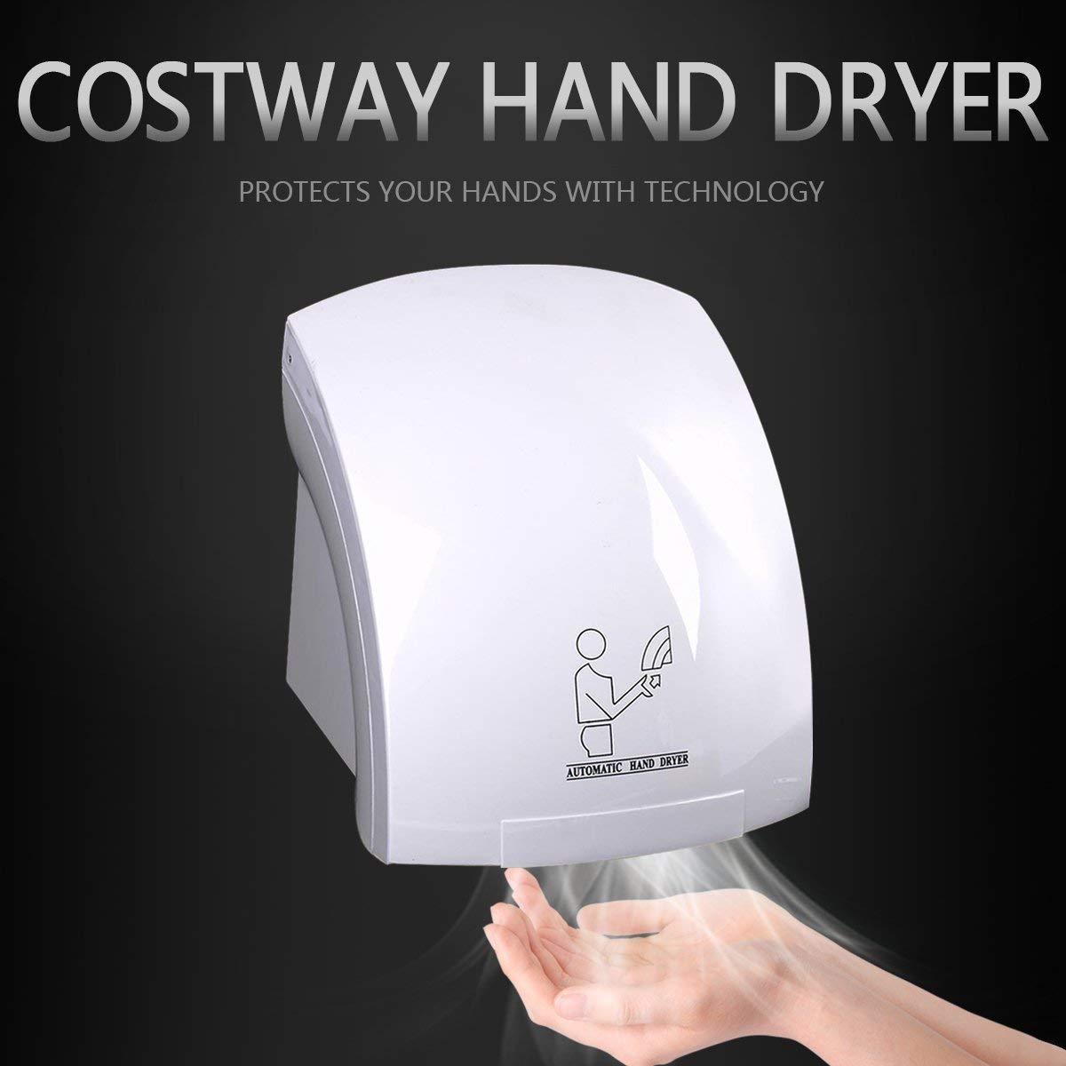 ANFAY Automatische Hand Trockner Wand Montiert Elektrisch 1800W Schnell Trockener Warm Luft Schweres Bad Toilette Schnell Trocknungsmaschine Wei/ß,1PCS