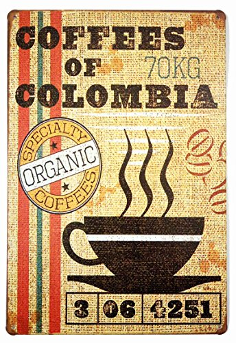 ERLOOD Coffees of Colombia Vintage Style Wall Ornament Coffee & Bar Decor,size 12 X 8 (Coffee Vintage Posters)