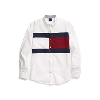 05ac1af8 Tommy Hilfiger Men's Adaptive Magnetic Button Shirt Custom Fit, Classic  White Small