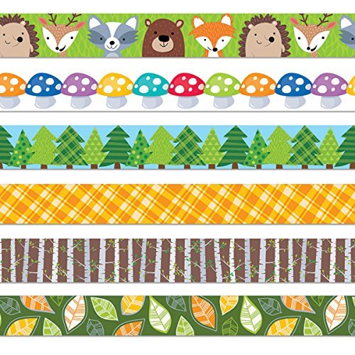 Creative Teaching Press 7474 Woodland Friends Bulletin Border Trim (Pack of 6) (Pine Tree Border)