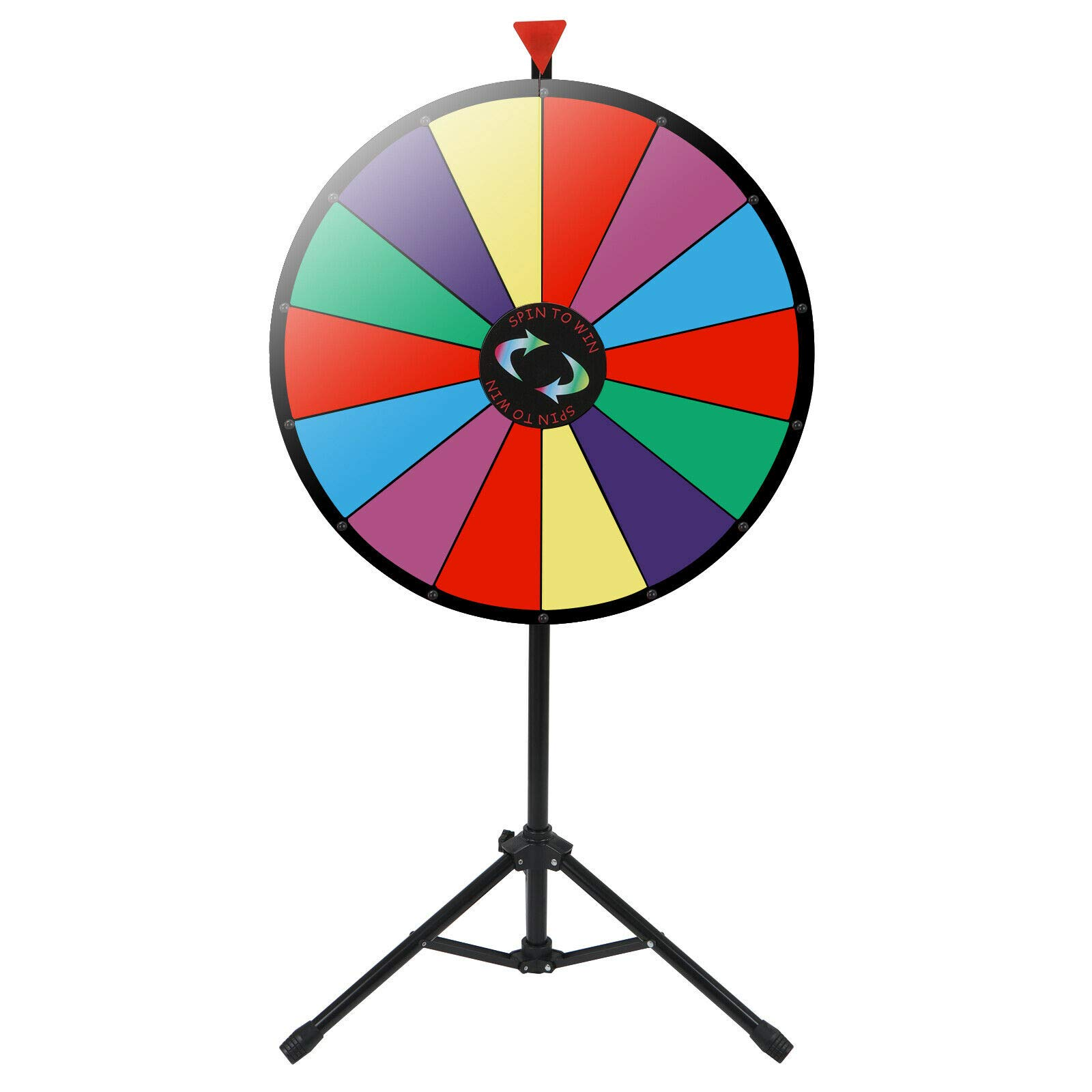 24'' Prize Wheel Metal Tripod Adjustable Floor Stand Editable Reusable Dry Erase Color Portable 14 Slot Perfect For Trade-shows Promotion Activities Carnivals Annual Meetings Holiday Activities Parties by Auténtico (Image #2)