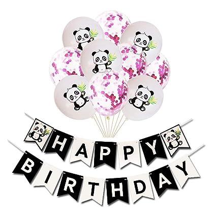 Panda cumpleaños Pull Flor Traje de Panda Globo de látex ...