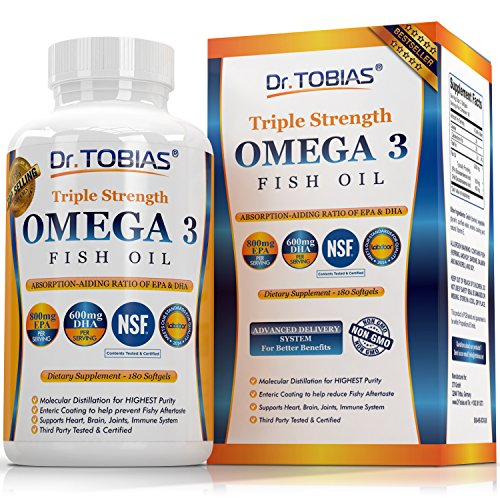 Dr  Tobias Omega 3 Fish Oil Triple Strength  Burpless  Non Gmo  Nsf Certified  180 Counts