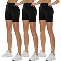 """QGGQDD 3 Pack High Waisted Biker Shorts for Women – 5"""" Buttery Soft Black Workout Yoga Athletic Shorts"""