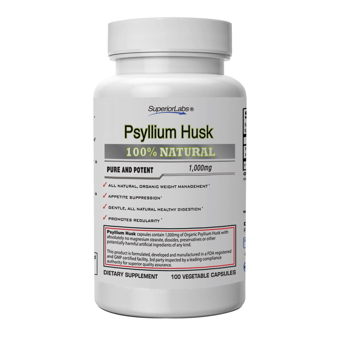 Superior Labs | Psyllium Husk | Maximum Strength 1000 mg | All-Natural Fiber Supplement, Supports Intestinal Health and Digestive Function, Promotes Regularity and Healthy Weight Management by Superior Labs