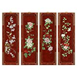 China Furniture Online Flower and Birds Motif Red Wall Plaque Set of 4