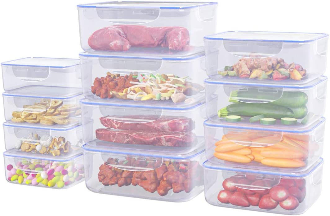 JENDEHO Food Storage Containers Set BPA Free Plastic Leak-Proof Box with Lids Microwave and Dishwasher Safe 24 Pieces
