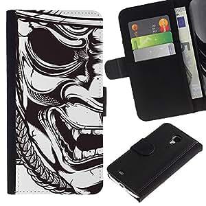 KingStore / Leather Etui en cuir / Samsung Galaxy S4 Mini i9190 / Samurai Théâtre Art