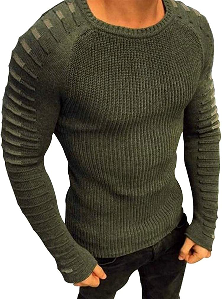 XiaoTianXin-men clothes XTX Mens Crew Neck Warm Long Sleeve Casual Knitting Pullover Sweater