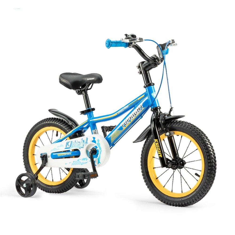 YANGFEI 子ども用自転車 子供用の自転車、トレーニングホイール付きユニセックス子供用自転車、様々なトレンディな機能、12,14,16および18インチ、おしゃれな男の子と女の子のための贈り物 212歳 B07DWP47MB 18 inch|Blue+Yellow Blue+Yellow 18 inch