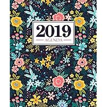 Agenda 2019: 19x23cm : Agenda 2019 semainier français : fleurs jaunes et roses 5982