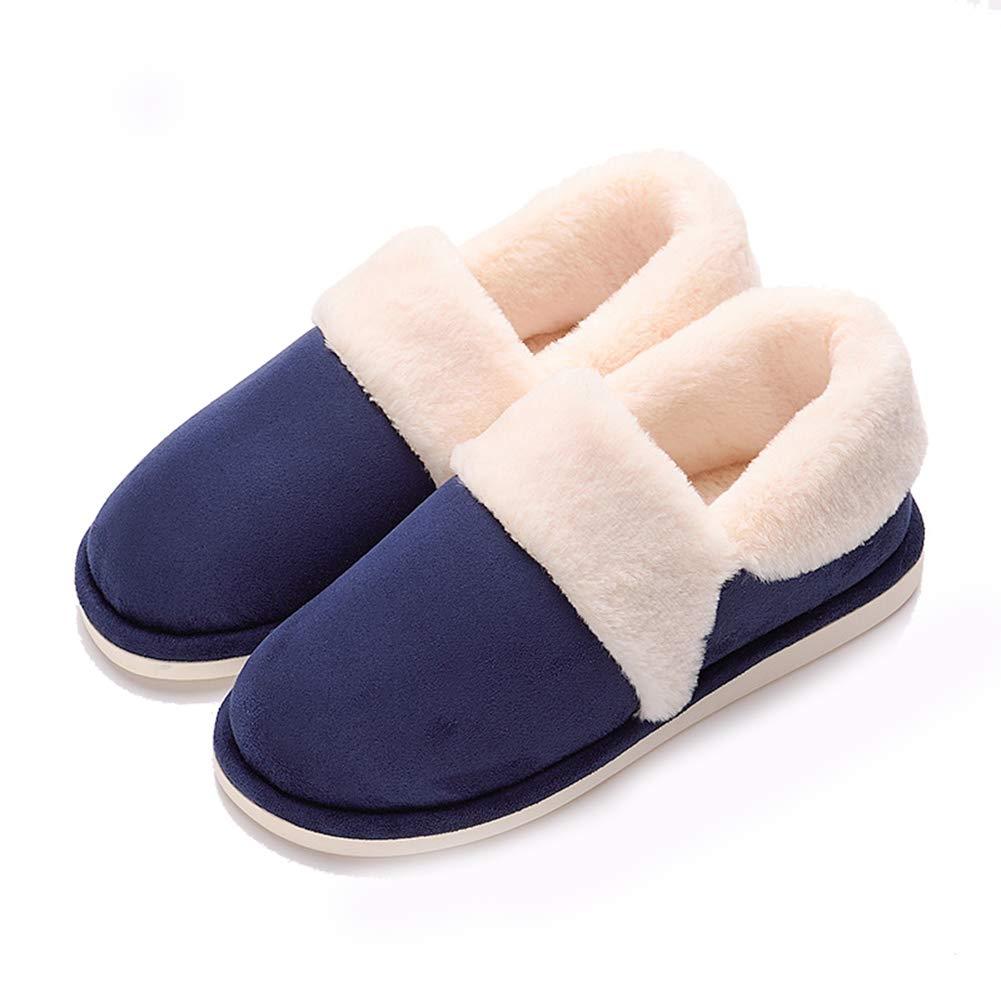 SUPERCB Womens Men Slipper Indoor Outdoor Soft Velvet Plush Fur Lined Clog Winter
