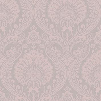 Arthouse 910306 Dusky Rose Metallic Textures Luxe Damask Wallpaper