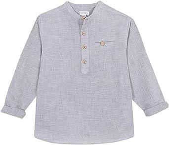 Gocco Camisa Villela Cuello Mao Gris Shirt para Niños: Amazon ...