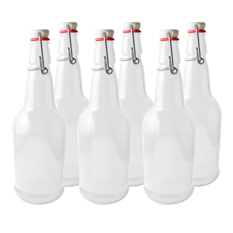 Secure Swing 16 oz Beer Bottles with Ceram-Seal Ceramic Cap for Fermentation & Carbonation of Beer, Soda, Kombucha - 6 Pack - Clear Pratico Kitchen