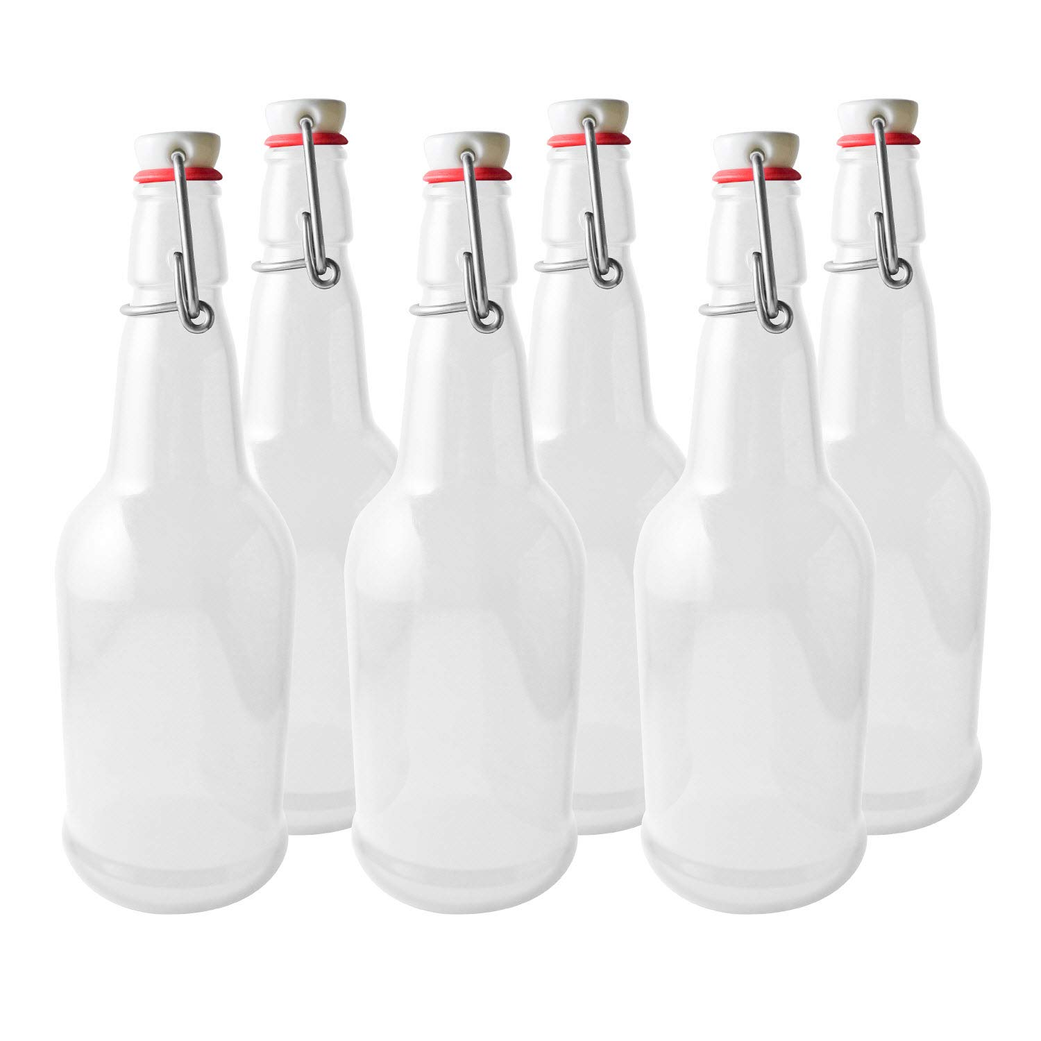 Secure Swing 16 oz Beer Bottles with Ceram-Seal Ceramic Cap for Fermentation & Carbonation of Beer, Soda, Kombucha - 6 Pack - Clear