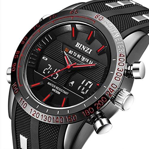 BINZI Mens Military Sport Watches Casual Multifunction Waterproof Wrist Watch in Black Silicone Band
