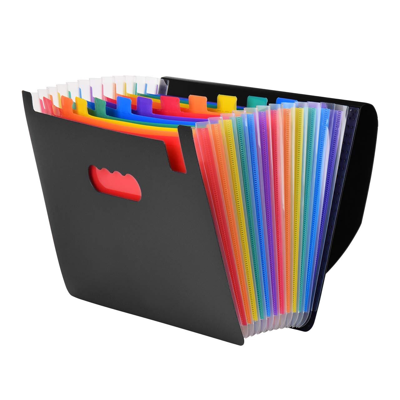 Eyourlife Sorter a Soffietto Sorter a Fisarmonica 12 Scomparti Carta Espandibile A4 Multicolore Documenti Classificati Cartella File Espandibile Organizzatore con Chiusura Nera