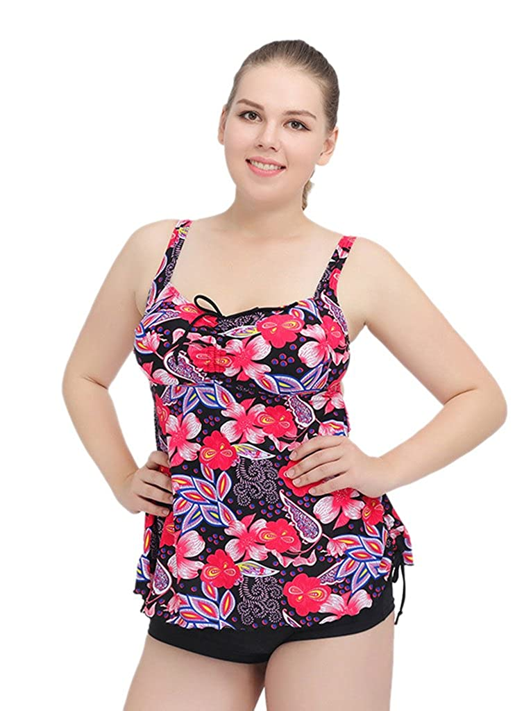 Nergivep Women's Plus Size Printed Tankini Swimwear Two Piece Swimsuit with Shorts