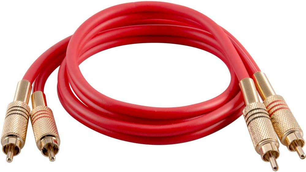 SAPRCA3-RD Seismic Audio Premium Red 3 Foot Dual RCA Male Audio Patch Cable