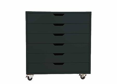 Aprodz Mango WoodSideboard Storage Dresser Cabinet Bhesar Chest of 6 Drawer On Castors for Living Room   Cobalt Bay